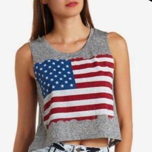 Charlotte Russe American Flag Crop Muscle Tank Top